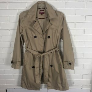 Women's double breasted Tan Belted Trench Coat SzM